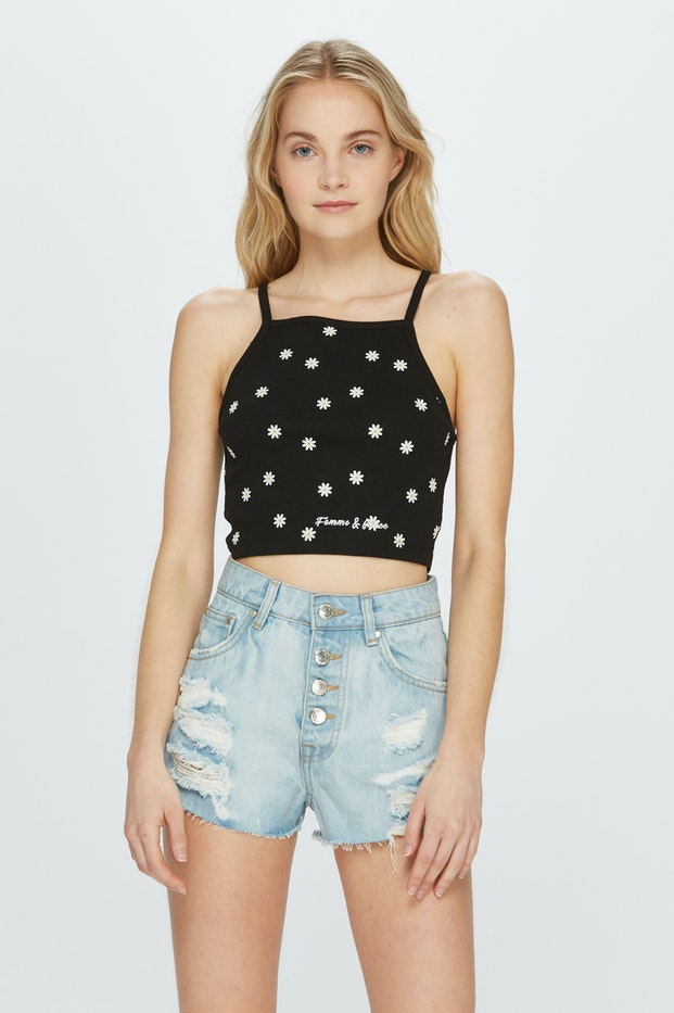 CAMISETA CROPPED CANALE POLINESIA MARGARITAS MUJER